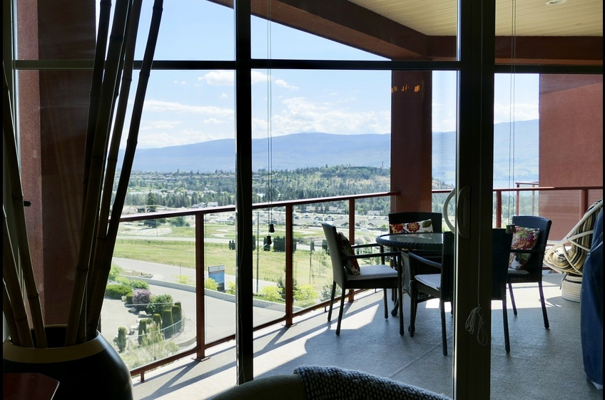 Large, private deck with great views of mountains, Okanagan Lake and Mission Hill Winery!